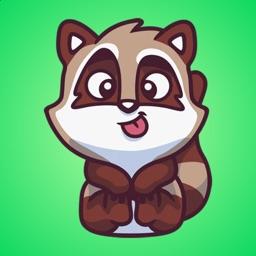 Brown Raccoon Stickers
