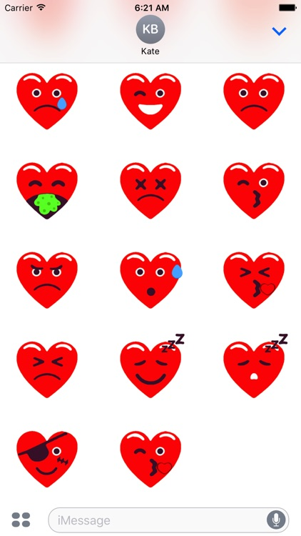 Heart Red Love Emojis Stickers for iMessage screenshot-4