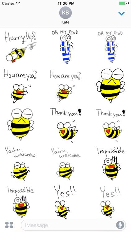 Peet The Little Cute Bee English Sticker screenshot-3