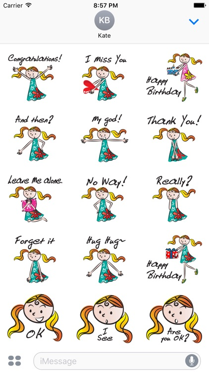 Blonde Girl - Text Message Stickers Pack