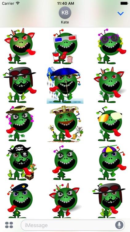 Emoji Smiley Green Alien Stickers screenshot-3