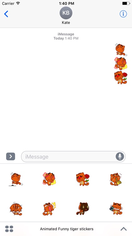 Animated Funny Tiger Stickers For iMessage