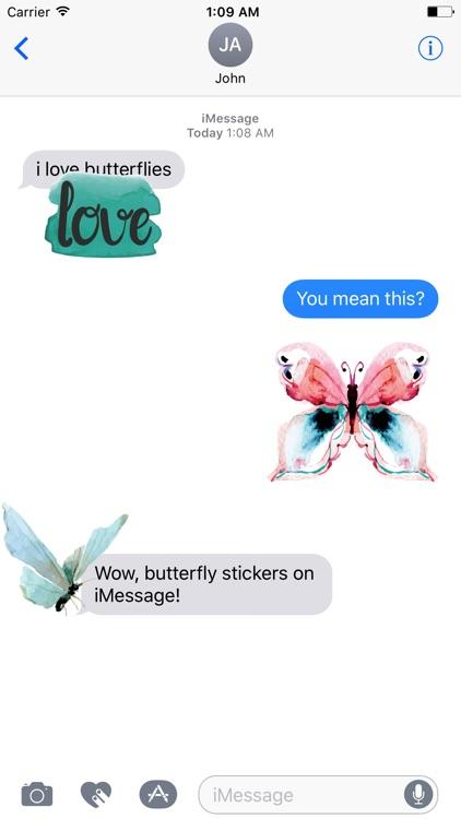 Watercolor Butterflies Sticker Pack screenshot-3