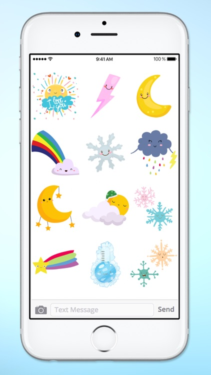 Cute Weather Emoji Icons Sticker Pack screenshot-4