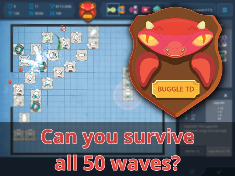 Buggle TD Tower Defense - 50 Waves Challenge