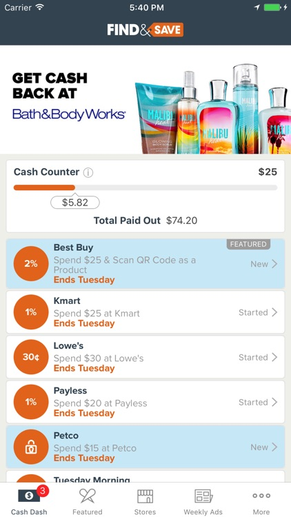 Find&Save - Cash Back, Coupons, and Local Shopping