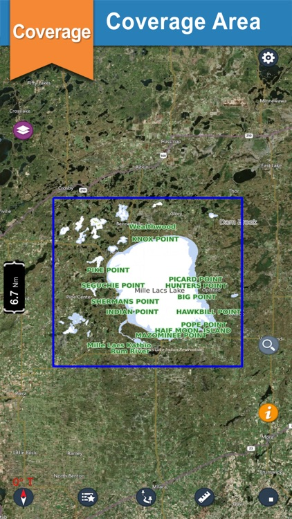 Mille Lacs offline GPS chart for lake & park trail