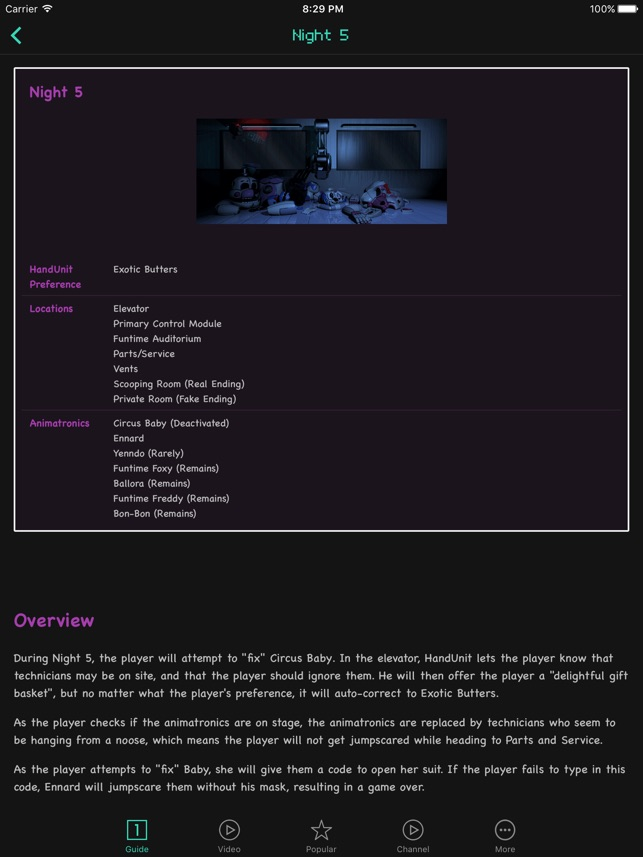 Guides For Five Nights At Freddy's Sister Location on the