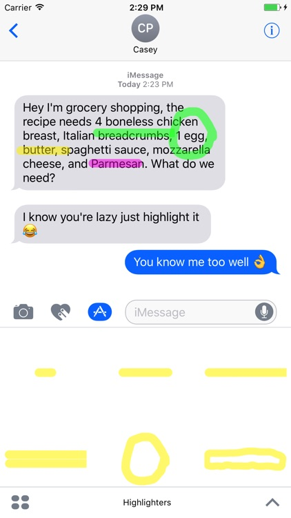 Highlighters for iMessage