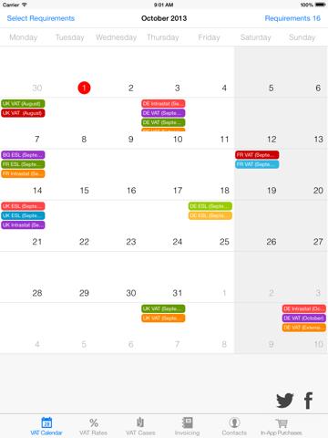 Screenshot of VATlib for iPad