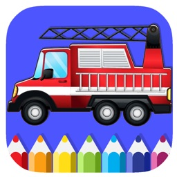 Draw Fire Truck Coloring Book Game For Kids