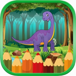 Dinosaur Coloring Book Game and Page for Kids