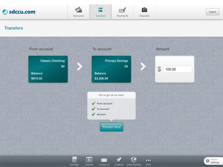 SDCCU Mobile Banking for iPad