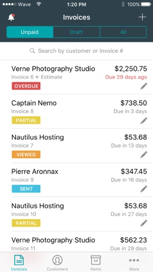 Invoice By Wave On The App Store - Wave invoice software