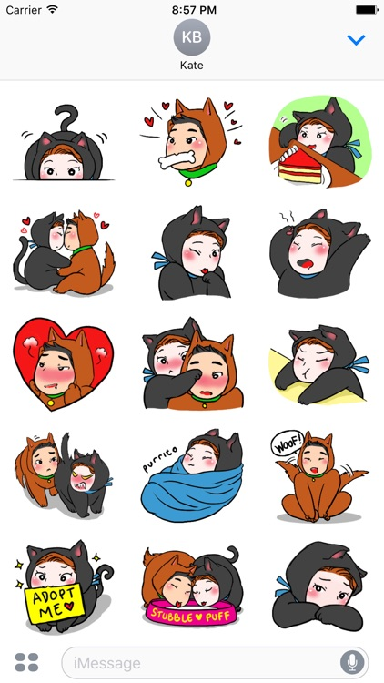 Dog Cat Love 3 Stickers Pack Text Message