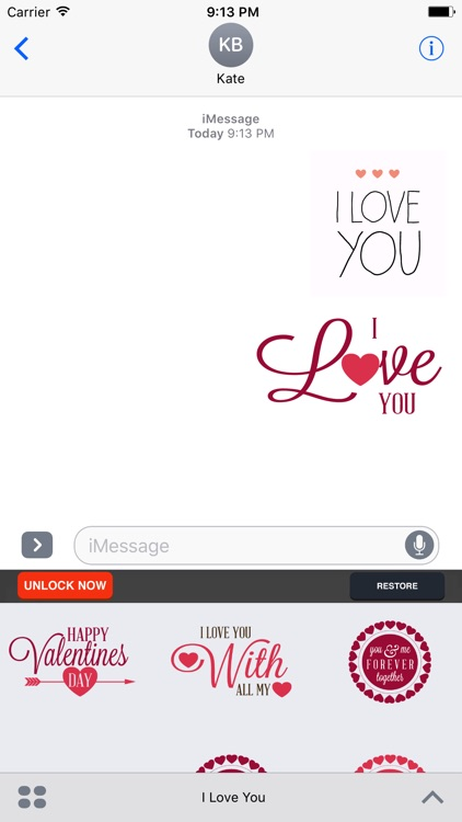 I Love You - Couple Stickers for Valentine's Day