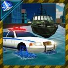 conductor y vehículo de la policía del crimen agua icon