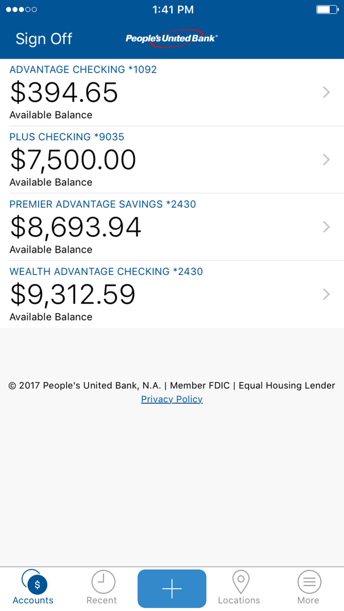 People's United Bank Mobile Screenshot