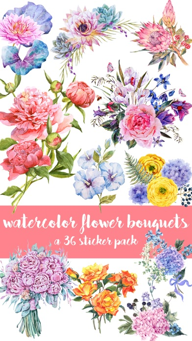 Watercolor Flower Bouquets Sticker Pack