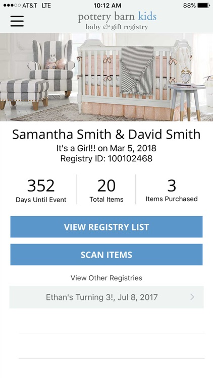 Pottery Barn Kids Registry