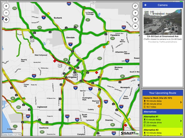 Sigalert.com - Live traffic reports on the App Store on san gabriel mountains california map, la live map, caltrans sigalert los angeles map, los angeles county, l.a map, 511 traffic los angeles map,