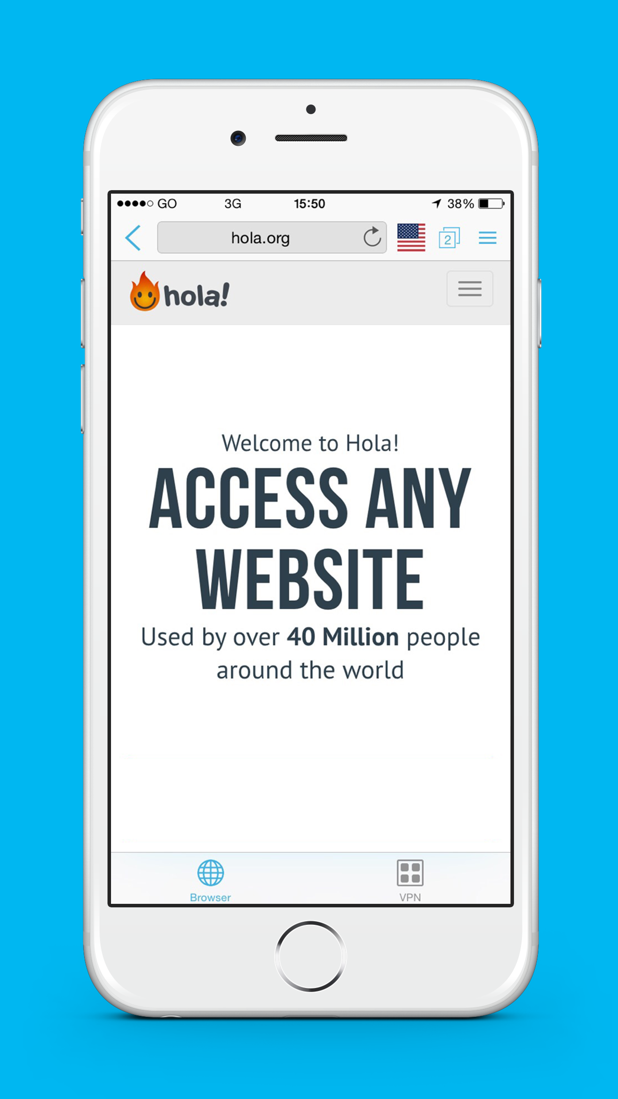 Hola Privacy VPN App & Browser Screenshot