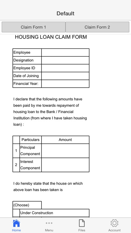 Housing Loan Claim Form