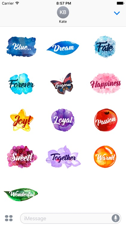 Watercolor sticker.word stickers for iMessage