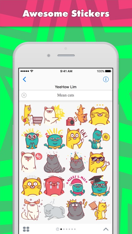 Mean cats stickers by Ehow Lim