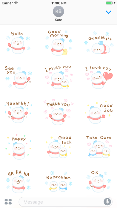 Taylor The Cute Snowman English Stickers