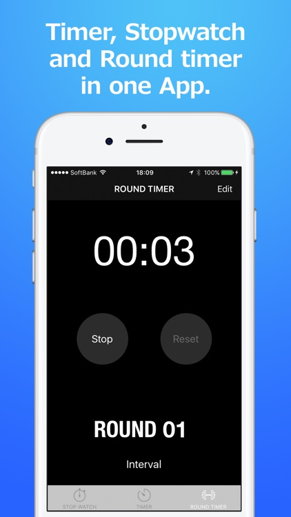 ThreeTimer - Stopwatch.Timer.Round timer screenshot-1