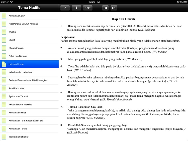 Paket Hadits for iPad screenshot-4