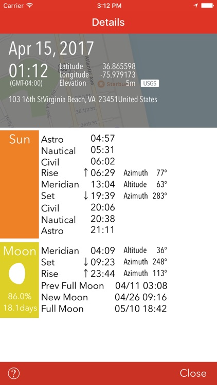 Sunrise, Sunset - Moon, Time, Direction, Elevation