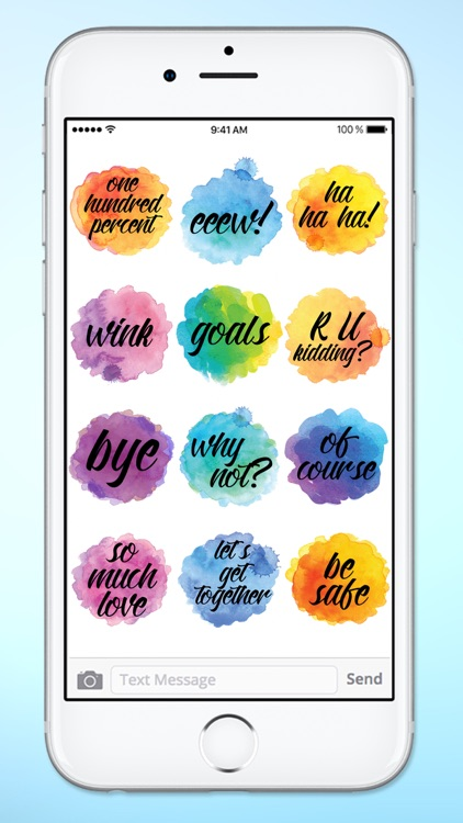 Watercolor Messages and Text Sticker Pack screenshot-4