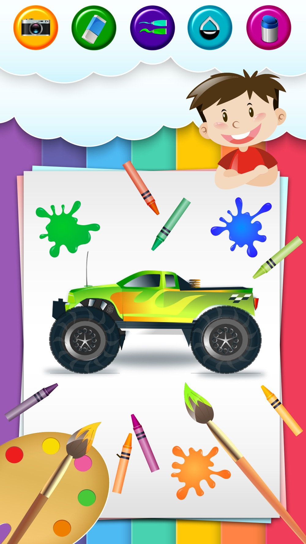 Coloring page  monster truck for kids Free Download App for iPhone ...