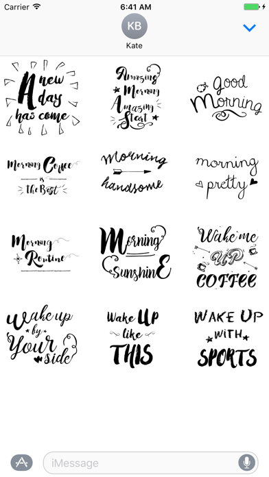 Good Morning Typography Stickers for iMessage screenshot two