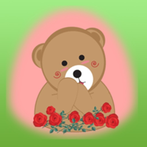 Lovely Brown Bear With Love Stickers