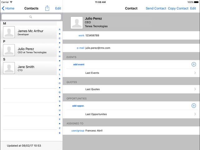 Tenea App For Vtiger Crm Ipad Edition