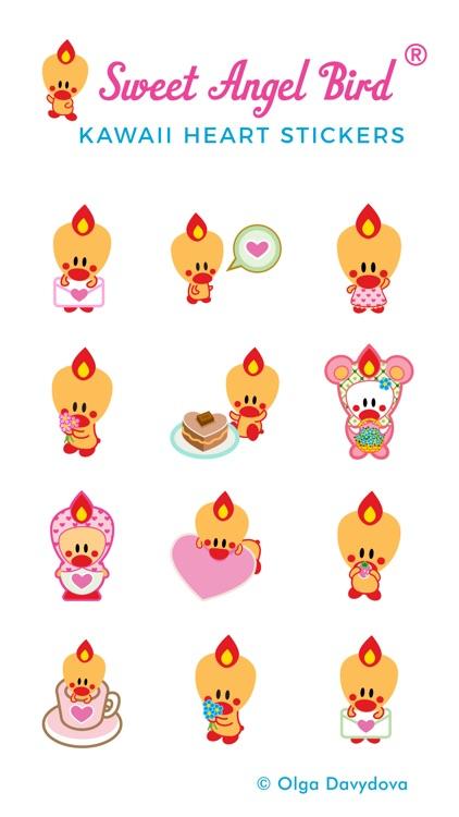 Sweet Angel Bird Kawaii Heart Stickers screenshot-3