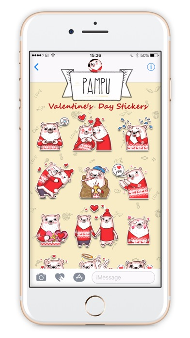 Valentine's Day with Pampu stickersのスクリーンショット2