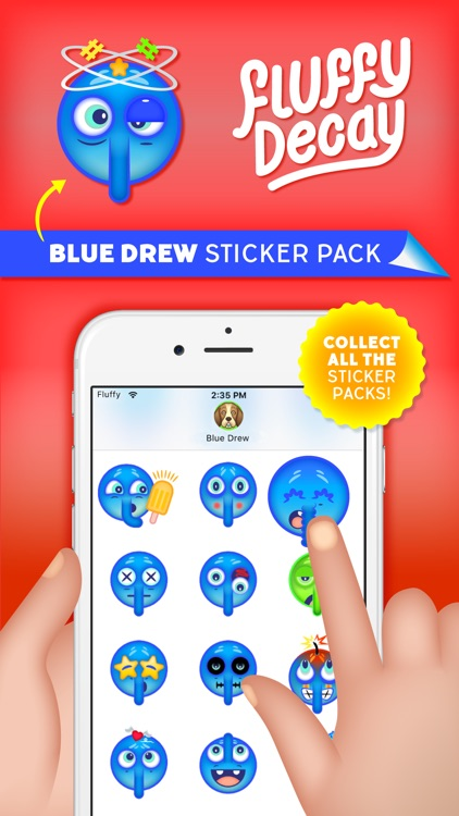 Fluffy Decay Blue Drew Sticker Pack