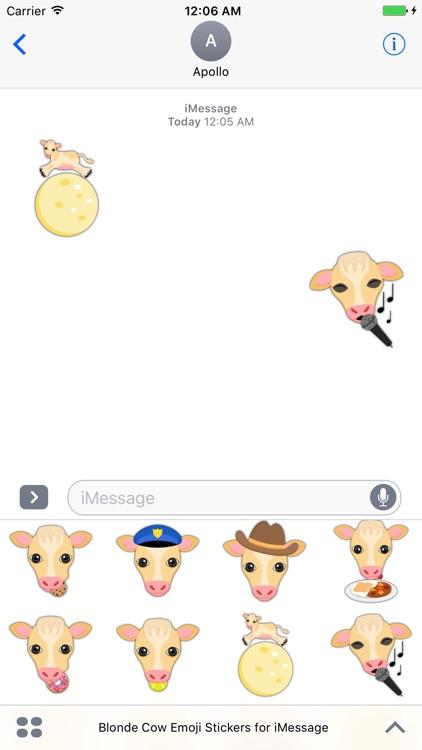 Blonde Cow Emoji Stickers for iMessage screenshot-4