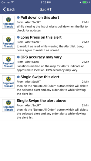 Alert SacRT Screenshot