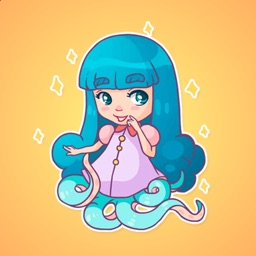 Charming Girl Octopus Stickers