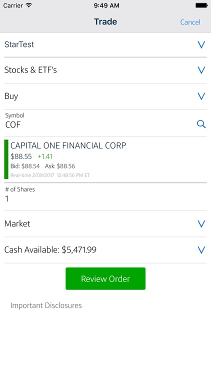 Capital One Investing Mobile