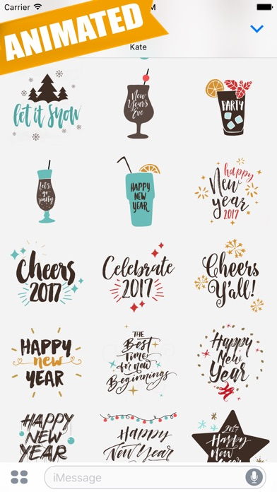Animated Happy New Year Greetings for iMessage - App - Mobile Apps