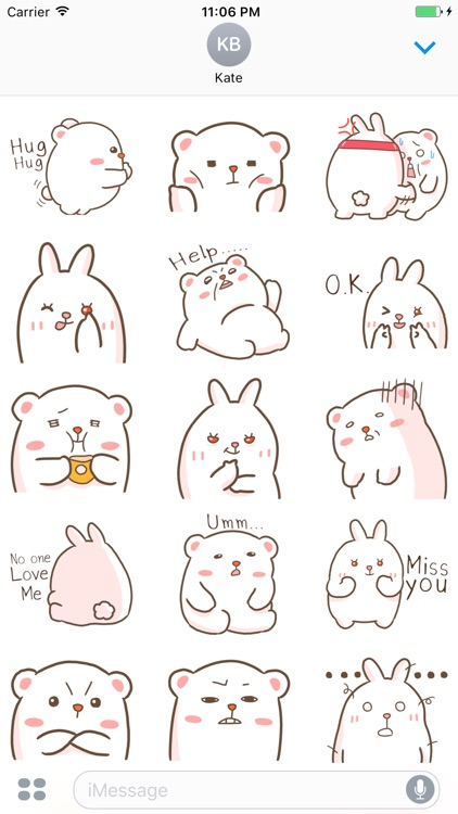 Rabbit And Bear Are Best Friends English Stickers