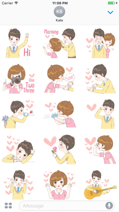 Sweet cutie couple English Stickers