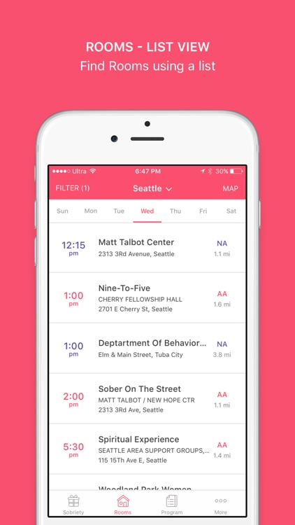 Pink Cloud: Alcoholics Anonymous Meeting Finder