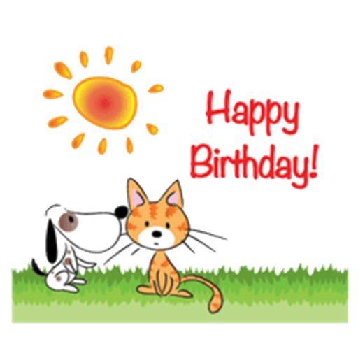 Happy Birthday Cards With Pets Sticker By Nguyen Huyen